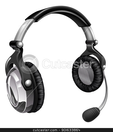 Microphone headset stock vector clipart, Illustration of a headset like those used for telesales, online chat or telephone customer helpdesk support. by Christos Georghiou