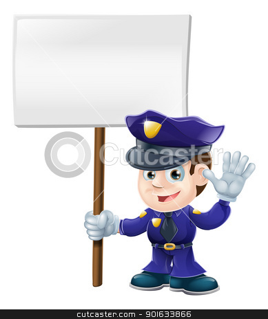Cute police man with sign illustration stock vector clipart, Illustration of a cute police character waving or saying stop and holding message sign by Christos Georghiou