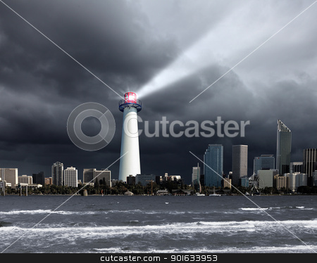 Lighthouse with a beam of light stock photo, Image of a lighthouse with a strong beam of light by Sergey Nivens