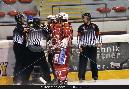 icehockey game action stock photo, ZELL AM SEE; AUSTRIA - AUG 30: Austrian National League. Scrum after the first period. Game EK Zell am See vs KAC II (Result 2-3) on August 30, 2011 in Zell am See. by www.ericfahrner.com