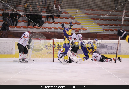 ice hockey game action stock photo, ZELL AM SEE; AUSTRIA - NOV 6: Austrian National League. EK Zell am See is celebrating their 1st goal in the game. Game EK Zell am See vs Dab. Docler Dunaujvaros (Result 2-3) on November 6, 2011. by www.ericfahrner.com