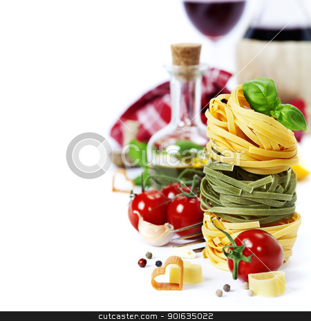 Italian Pasta and wine stock photo, Italian Pasta ( with tomatoes,  olive oil and basil) and wine on a white background by klenova