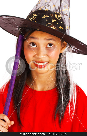 Young Witch With Broomstick stock photo, Young Girl Witch With Broomstick Dressed Up For Halloween by stuartmiles