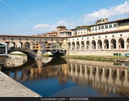 Ponte Vecchio stock photo, Ponte Vechio bridge on the river Arno in Italy by nevenm