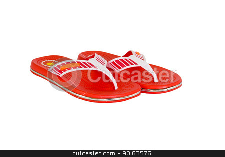 Orange flip-flops2 stock photo, Orange flip-flops  on a white background by stoonn