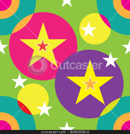 Circles and Stars Seamless stock vector clipart, A seamless pattern comprised of circles and stars and light colors. by Maria Bell