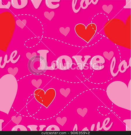 Love Seamless stock vector clipart, A seamless pattern comprised of red hearts and the word