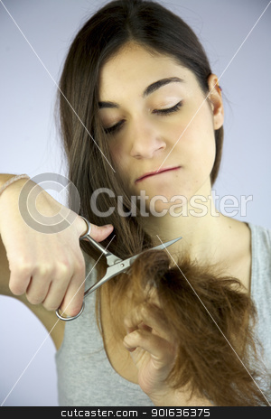 Girl Angry With Her Hair Cuts It All Off Stock Photo