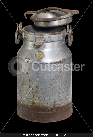 rusty nostalgic milk can stock photo, old nostalgic and corroded milk can with cap in black back by prill