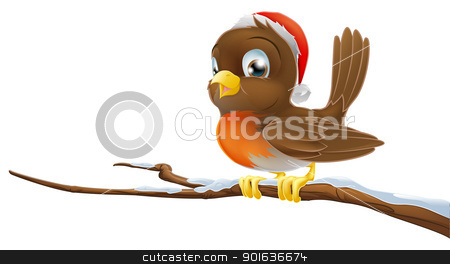 Christmas Robin stock vector clipart, A Christmas Robin bird sitting on snowy branch illustration  by Christos Georghiou