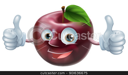 Happy apple man  stock vector clipart, A happy cartoon apple smiling and giving a double thumbs up  by Christos Georghiou
