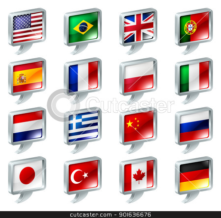 Flag speech bubble icons buttons stock vector clipart, Set of flag speech bubble icons buttons; great for anything related to languages; regions or translation; or country specific web forum sections. by Christos Georghiou