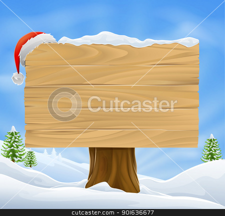 Christmas Santa hat sign background stock vector clipart, Illustration of wooden Christmas sign with snow and Santa hat hanging from it against a winter landscape. by Christos Georghiou