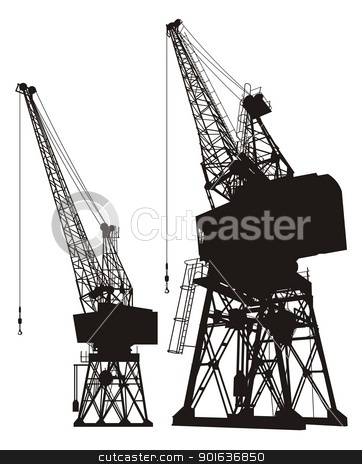 Dockyard cranes stock vector clipart, Silhouette of a dockyard cargo crane, two different angles. by fractal.gr