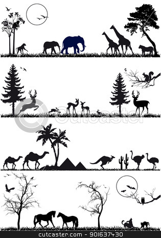 animal background set, vector stock vector clipart, wildlife animals, vector background set by Beata Kraus
