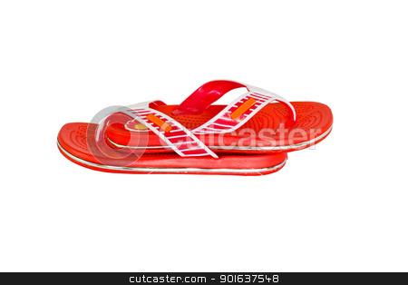 Orange flip-flops 1 stock photo, Orange flip-flops  on a white background by stoonn