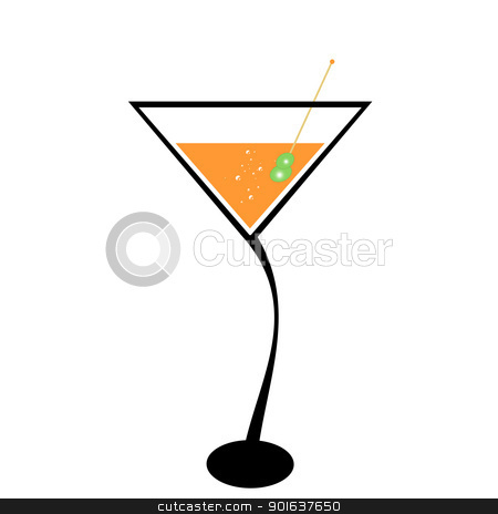 Cocktail and olive stock vector clipart, Cocktail and olive isolated on white background by Ingvar Bjork