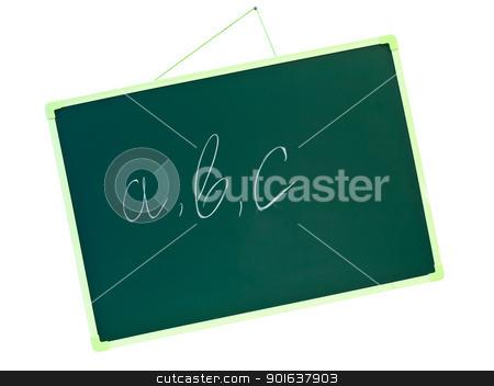 school blackboard with a b c stock photo, green school blackboard with letters a b c  by Sergej Razvodovskij