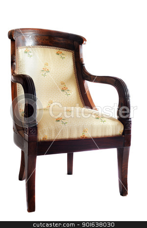 antique chair stock photo, antique chair in front of white background by Bonzami Emmanuelle