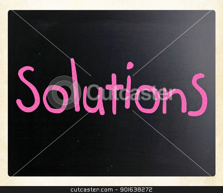 Solutions written with chalk stock photo, Solutions written with chalk by Nenov Brothers Images