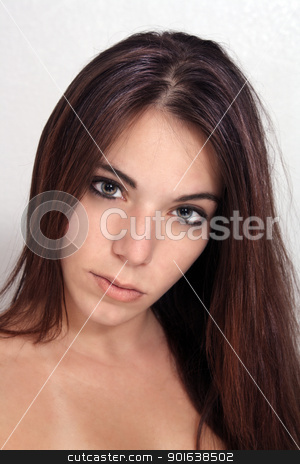Glamourous Brunette Headshot (3) stock photo, A close-up of a lovely, glamorous, young brunette. by Carl Stewart