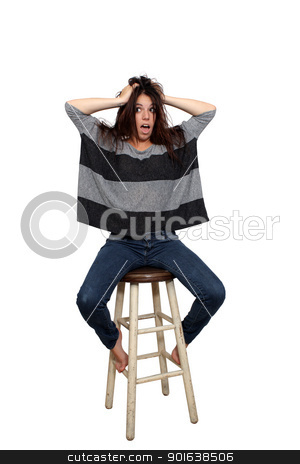 Casual Brunette on a Barstool (4) stock photo, A lovely young brunette in casual wardrobe, with a surprised or shocked facial expression, sits on a barstool, isolated on a white background with generous copyspace. by Carl Stewart
