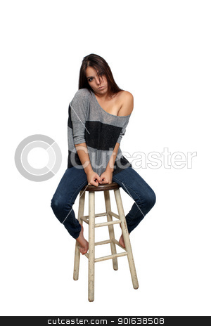 Casual Brunette on a Barstool (6) stock photo, A lovely young brunette in casual wardrobe sits on a barstool, isolated on a white background with generous copyspace. by Carl Stewart