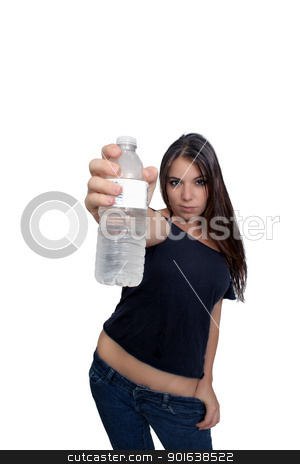 Pretty Brunette with Bottled Water (2) stock photo, A lovely young brunette holds a bottle of water toward the camera; selective focus on the bottle.  Isolated on a white background with generous copyspace. by Carl Stewart