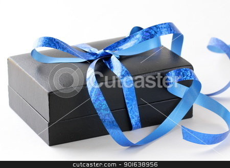black gift box with a blue ribbon on a white background stock photo, black gift box with a blue ribbon on a white background by Olga Kriger