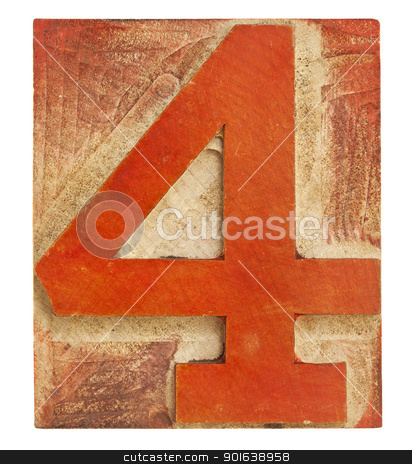 number four - letterpress wood type stock photo, number four - isolated letterpress printing block stained by red ink by Marek Uliasz