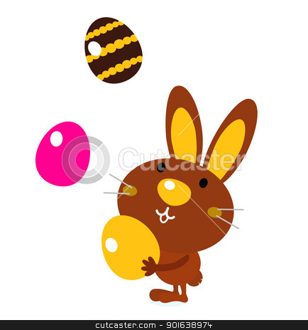 Cute easter bunny with eggs isolated on white stock vector clipart, Easter cartoon bunny. Vector Illustration by BEEANDGLOW
