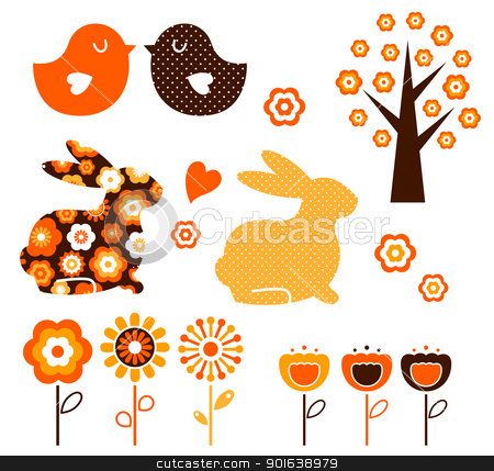 Retro spring easter design elements set ( vector ) stock vector clipart, Spring and easter elements isolated on white. Vector by BEEANDGLOW