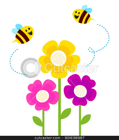 Cute bees flying around spring flowers isolated on white stock vector clipart, Bees flying closely colorful flowers. Vector by BEEANDGLOW