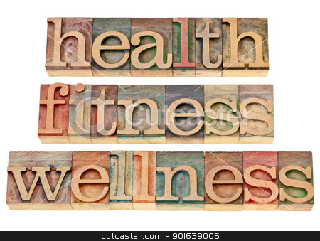 health, fitness, wellness stock photo, health, fitness, wellness - healthy lifestyle concept - isolated text in vintage letterpress wood type by Marek Uliasz