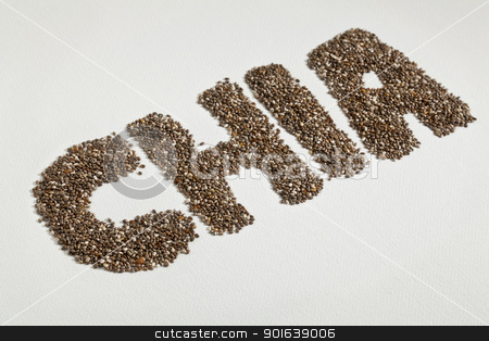 chia seeds and word stock photo, chia word made from chia seeds on white artist canvas by Marek Uliasz