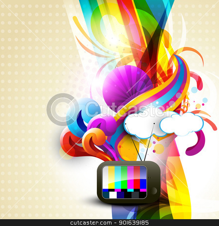 artistic tv stock vector clipart, artistic vector tv design illustration by pinnacleanimates