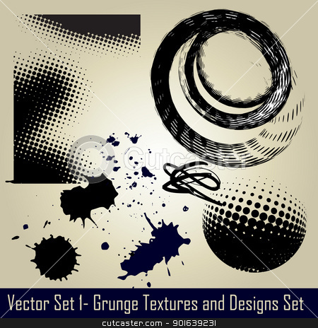 vector grunge set stock vector clipart, vector abstract grunge set elements and design by pinnacleanimates