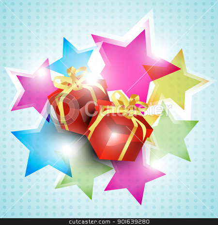 vector gift box stock vector clipart, vector gift box on colorful background by pinnacleanimates