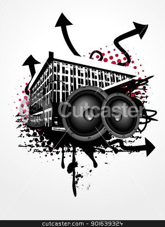 Grunge music art stock vector clipart, grunge vector music art background by pinnacleanimates