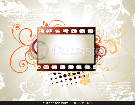 Photo reel vector art stock vector clipart, vector art of photo reel with floral background by pinnacleanimates