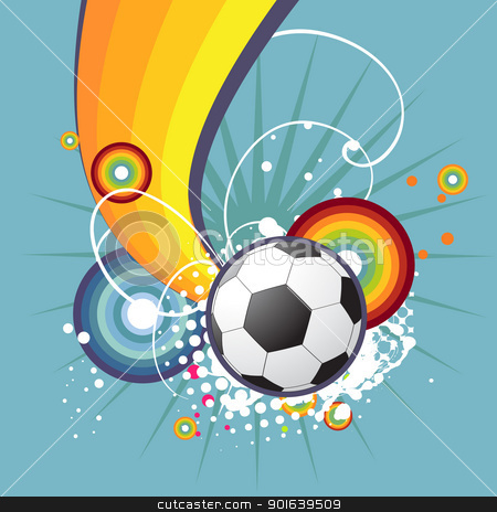 Funky football design stock vector clipart, funky football abstract artistic design by pinnacleanimates