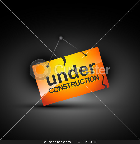 under construction stock vector clipart, hanging under construction sign illustration by pinnacleanimates