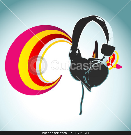 vector headphone design stock vector clipart, vector headphone abstract design illustration by pinnacleanimates