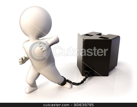 Dragging house stock photo, A person tied to his dwelling as a symbol of hard mortgage by JAlcaraz