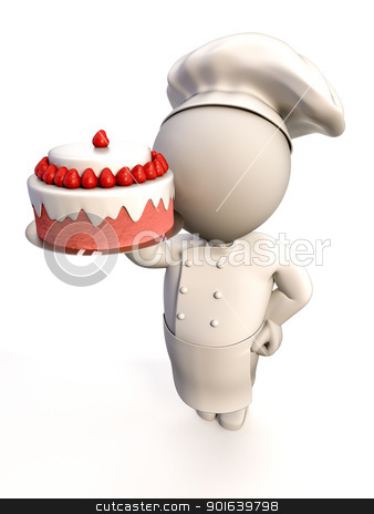 Baker with cake stock photo, A baker proudly showing a strawberry shortcake by JAlcaraz