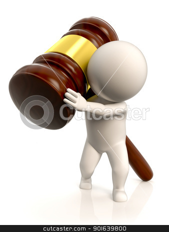 The weight of the law stock photo, A person carrying a very large and heavy mallet by JAlcaraz