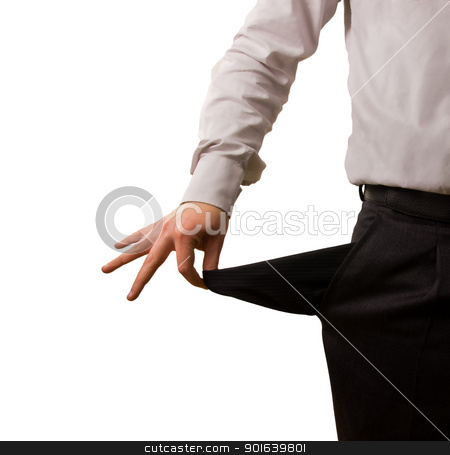Man showing empty pocket stock photo, A businessman pulling out his empty pocket by JAlcaraz