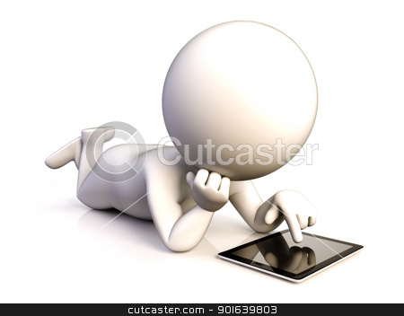 Person with tablet stock photo, A person enjoying his tablet lying on the ground by JAlcaraz