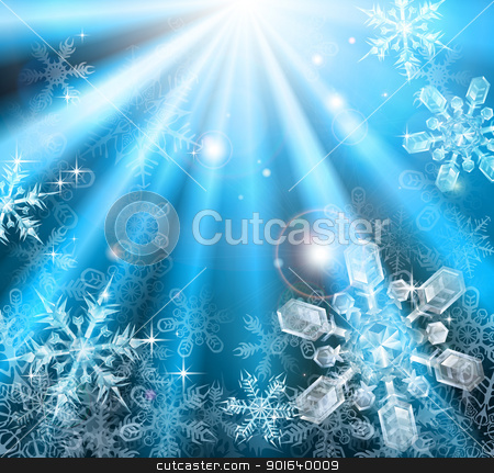 Christmas snowflakes background stock vector clipart, A blue winter Christmas snowflakes background illustration by Christos Georghiou