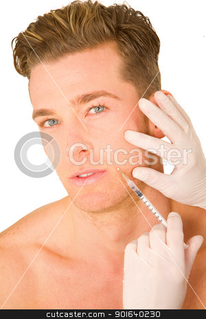 young man doing botox injections stock photo, young man doing botox injections by ambrophoto